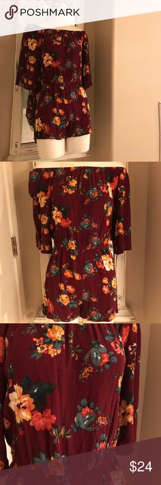 SALE✨ unique Fall Floral Romper Sz:SM Fall Floral Romper ✨LIKE NEW!✨ Sz:SM  The tag says medium but I'm saying small because it fits like a small. I wore it once, washed it & it shrunk a bit so my loss is your gain! 😍 I got TONS of compliments on this when I wore it! 💗 You will LOVE it! Other