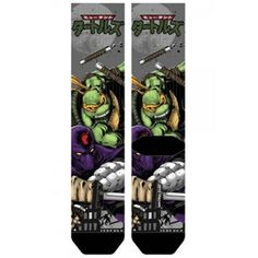 This is a pair ofTeenage Mutant Ninja Turtles Michelangelo Premium Crew Socks. What makes them premium? The materials that they are made of. They are super com