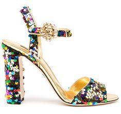 Dolce & Gabbana Sandales en cuir rebrodé de paillettes