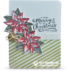Stampin Up A Very Merry Christmas to You card. Tami White. stampwithtami. ——— STAMPIN UP  S U P P L I E S ——— • Reason For The Season Photopolymer Stamp Set #139730 • Real Red Classic Stampin' Pad 	#126949 • Pear Pizzazz Classic Stampin' Pad #131180 • Basic Black Archival Stampin' Pad #140931 • Whisper White 8-1/2X11 Card Stock #100730 • Season Of Cheer Designer Series Paper #139590 • Winter Wonderland Designer Washi Tape #139609 • Linen Thread #104199 •  Gold Basic Metal Buttons #133763