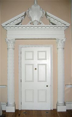 Agrell Architectural Carving - Door with split pediment hand carved in wood - Fulham Palace