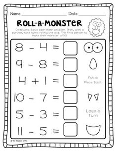 Roll-a-Monster Activity  (using subtraction)