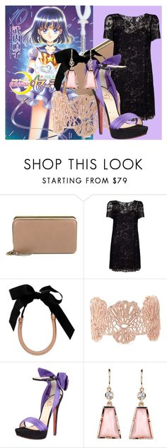 """""""Pretty Sailor Soldier: Hotaru, The Princess of Saturn"""" by bornincouture ❤ liked on Polyvore featuring Chloé, Dolce&Gabbana, Lanvin, Stella & Dot, Christian Louboutin, Irene Neuwirth, modern, lace, chain necklaces and statement necklaces"""