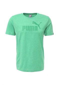 Футболка Puma ESS No.1 Logo Heather Tee Футболка Puma. Цвет: зеленый.  Сезон: Весна-лето 2016. Одежда, обувь и аксессуары/Мужская одежда/Одежда для спорта/Футболки
