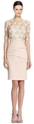 Teri Jon Lace Bodice Elbow Sleeve Tiered Sheath Dress.