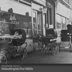Babies left in their prams outside the shops, safe & sound. How the world has changed since then :(