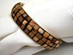 Vintage Brown tan Mosaic Brass Bangle by serendipitytreasure, $16.00