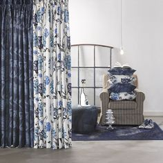 A House of happiness collectie Trevor York Gordijnen Textiles, Window Coverings, Sleep, Windows, Curtains, Prints, House, Home Decor, Indigo