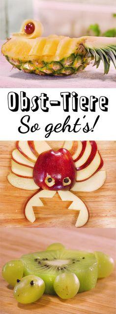 Sorge für erstaunte Gesichter, wenn Tiere aus Obst auf den Tisch kommen!