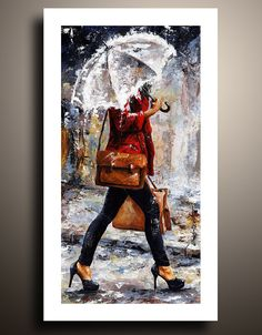 Rainy Day  Woman of New York 17 Figure Fine Art Print  of My Acrylic Painting