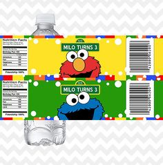 Elmo Water Bottle Labels, Cookie Monster Bottle Labels, Sesame Street Bottle Labels, Sesame Street P Seasame Street Party, Sesame Street Birthday, 1st Boy Birthday, 1st Birthday Parties, Birthday Ideas, Birthday Decorations, Sesame Street Decorations, Lucas 2, Personalized Birthday Invitations