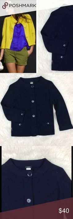 J.Crew Tessa Sweater Jacket Excellent like new condition. Size small. Tessa sweater jacket in Navy. Large round buttons with striped pattern around them. Front pockets. High neckline. 100% Cotton. Has stretch, J. Crew Jackets & Coats