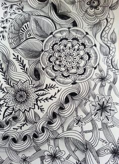 "Zentangle Inspired ""Flower Chains""  pen & ink and pencil drawing on Etsy, $24.00"