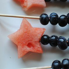 These festive, whimsical snacks are fun to make and you can toss the extra watermelon into a fruit salad of its own, like this Star Spangled one!