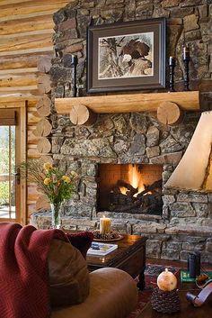 : Handcrafted Log Homes » Teton Springs Log Home » Teton Springs Fireplace