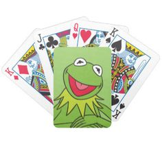 "Hi-ho, Kermit the Frog here with a fun deck of Bicycle playing cards. He might not appreciate a game of ""Go Fish,"" though..."