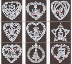 """""""FSL Crystal Christmas"""" includes 10 lovely, free standing lace designs featuring iconic holiday designs. Add sparkle with crystals!"""