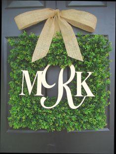 Square Boxwood Monogram Wreath with Burlap Bow by ElegantWreath, $130.00
