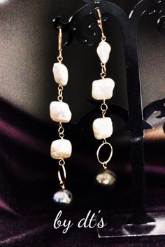 #simplypretty #long #gold #earrings with #peacock #pearl and #square #pearl
