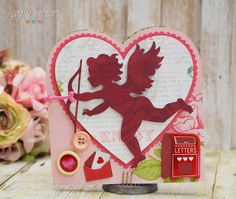 A beautiful Valentine's Card from SWEETS FOR MY SWEET SVG KIT made by Kathy.  This is so easy to make, just add any embellishments you like and you have the perfect card for your sweetheart!