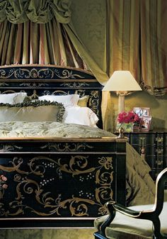 Extraordinary Furnishings by Ebanista was founded in 2002 by husband and wife design team, Fari and Melinda Pakzad, whose cultivated passion for exquisite furnishings. Dream Bedroom, Home Bedroom, Bedroom Decor, Master Bedroom, Master Suite, Painted Beds, Painted Furniture, Beautiful Bedrooms, Beautiful Interiors