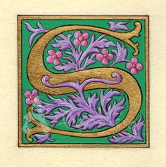 Alphabet Letter N, Medieval Illuminated Letter N , Painted Initial ...