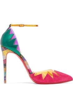 Christian Louboutin - Chapito Ho 100 Pvc-trimmed Suede And Leather Pumps - Bubblegum Heels Rainbow Colorful Fall Suede Leather Shoes, Leather High Heels, Suede Pumps, High Heel Pumps, Pumps Heels, Metallic Pumps, Metallic Leather, Jennifer Fisher, Mode Shoes