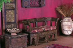 Moroccan and Bohemian home interiors. bohemian home pink walls paint home decor furniture furnishing ...