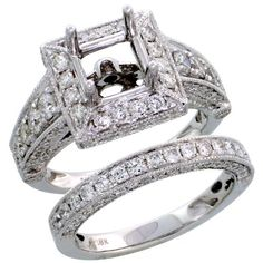 18k White Gold Semi-Mount Diamond Ring 2-Piece Wedding Set for Her, w/ 2.29 Carats Brilliant Cut Diamonds, 1/2 in. (12mm) wide