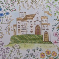 Instagram media yuuki.gen - #コロリアージュ#おとなの塗り絵 #ロマンティックカントリー  アンブローズ城。 水彩色鉛筆で塗りました。 楽しい楽しい。