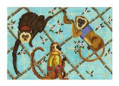 Needlepoint Monkey Canvas - Monkeys in Bamboo