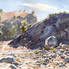 """Mike Kowalski on Instagram: """"""""Noon, Parachilna Gorge"""". I worked on this sketch looking into the bright sunlight. It was difficult to discern anything in the dark cliff…"""" Cliff, Sunlight, The Darkest, Sketch, Bright, Painting, Instagram, Art, Sketch Drawing"""