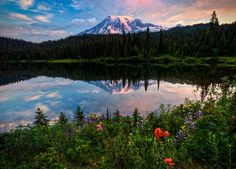 Morning Glory (Sunrise at Reflection Lake Mt Rainier HDR), via Flickr.