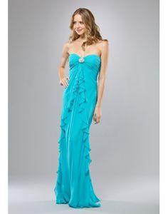 Strapless Ruffles Blue Column Evening Dress