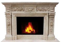 Offener Kamin aus beigefarbenem Marmor/Kalkstein | handgefertigt | Modell ZO215-0027, SHI-Kaminserie |Weitere Modelle & Designs lieferbar!