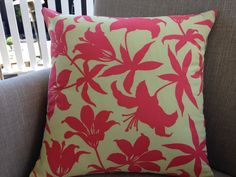 Cushion Cover in Manzanita  Lily in Salmon by by SourPussDesigns