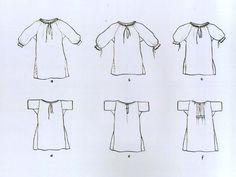 Ženská košeľa, Lazisko, prvá polovica 20. storočia. Kresby ukazujú, ako sa v priebehu prvej polovice 20. storočia postupne menila forma a strih ženskej košele – od košele s bokom prišitými dlhými rukávmi ku košeli s kolmo prišitými krátkymi rukávmi. Menilo sa aj zapínanie košele – od viazania párom tkaníc k zapínaniu na gombičky.