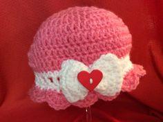 Valentine Baby Hat by Yarnhotoffthehook on Etsy, $15.00