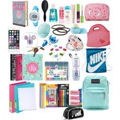 back to school what's in my backpack by camilleibonjour on Polyvore featuring polyvore interior interiors interior design home home decor interior decorating Kate Spade Dot & Bo Simple Pleasures BIC Paper Mate Olympia Le-Tan JanSport NIKE Timex Crate and Barrel Goody Maybelline Eos Monsoon H&M Forever 21 Sharpie