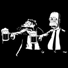 A Simpsons t-shirt in with Homer and Moe in the famous Pulp Fiction pose. Art by Stationjack/Martyn Dawson. The Simpsons, Simpsons Videos, Simpsons T Shirt, Simpsons Tattoo, Cartoon Man, Cartoon Shows, Pulp Fiction, Digital Foto, Cartoon Crossovers
