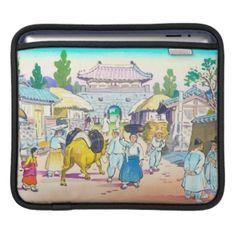 Hiyoshi Mamoru Korean Market japanese scenery art Sleeves For iPads #momoru #korean #market #japanese #art #japan #watercolor #town #people #village #scenery #morning #customizable #custom #gifts #gift #Zazzle #oriental #asia