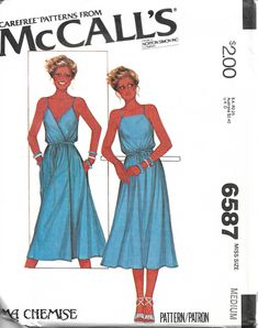 8678 UNCUT McCalls SEWING Pattern Misses 2 Hour Pullover Sleeveless Dress Spring