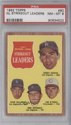 NL Strikeout Leaders/Sandy Koufax/Stan Williams/Don Drysdale/Jim O'Toole PSA GRADED 8 Cincinnati Reds, Los Angeles Dodgers (Baseball Card) 1962 Topps #60 by Topps. $195.00. 1962 Topps #60 - NL Strikeout Leaders/Sandy Koufax/Stan Williams/Don Drysdale/Jim O'Toole PSA GRADED 8