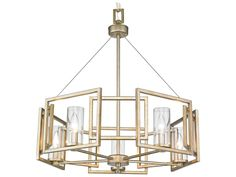 Golden Lighting Marco White Gold Five-Light 24.5'' Wide Standard Chandelier with Clear Glass