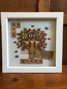 Wedding Personalised Mr & Mrs Scrabble Box Frame. Handmade. Anniversary Gift. Custom made. Wedding Present. Any Wording. Engagement Gift. by potsofgoldgifts on Etsy https://www.etsy.com/uk/listing/557838727/wedding-personalised-mr-mrs-scrabble-box
