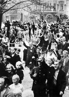 Ethnic Germans in the city of Tarnow, Poland, cheer the entry of German troops after Hitler invaded Poland on Sept 3, 1939, thus sparking WW2. After the war, all ethic Germans were forced out of Poland.