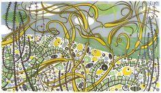 Angie Lewin: 'The Beach, Salthouse': linocut print