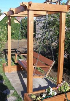 Scranciob Fain Even though early in strategy, a pergola has been experiencing a bit of Backyard Swings, Patio Swing, Backyard Seating, Backyard Landscaping, Backyard Projects, Outdoor Projects, Garden Projects, Outdoor Furniture Plans, Garden Furniture