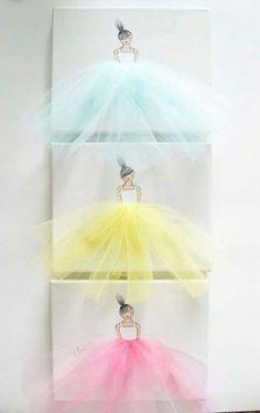 Ballerina's with tulle skirts artwork