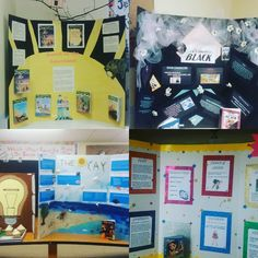 For Dr Seuss day we also had a literacy fair. I'm amazed by the boards the 3rd and 4th graders came up with! These are just a few. Riley's is the bottom right.  #fourthgrade #ohtheplacesyoullgo